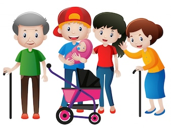 Menschen in verschiedenen Altersgruppen in der Familie