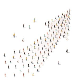 Menschen stehen zusammen in Form eines Pfeils