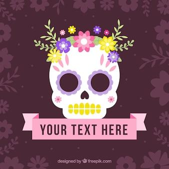 Mexikanische Schädel-Hintergrund mit Blumen und Farbband