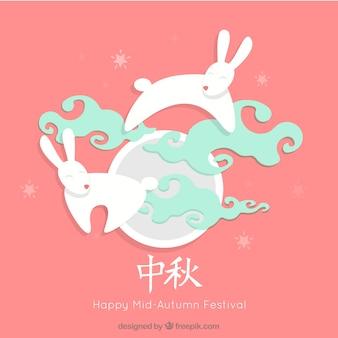 Mid Autumn Festival Hintergrund mit niedlichen Kaninchen