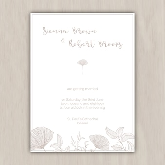 Minimalist beige Hochzeitseinladung mit Hand gezeichneten Elemente