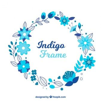 Minimalist Rahmen mit blauen Blumen