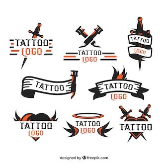 Minimalistische Tattoo-Logo-Kollektion