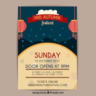 Mitte Herbst Festival Poster mit Vollmond