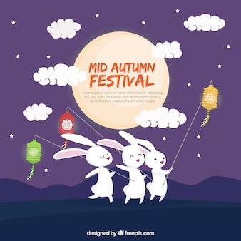 Mittleres Herbstfest, drei Kaninchen mit Laternen