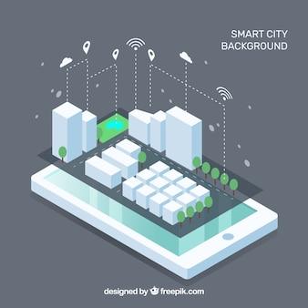 Mobile mit intelligenter Stadt im isometrischen Stil
