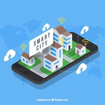 Mobile mit intelligenter Stadt in isometrischem Design