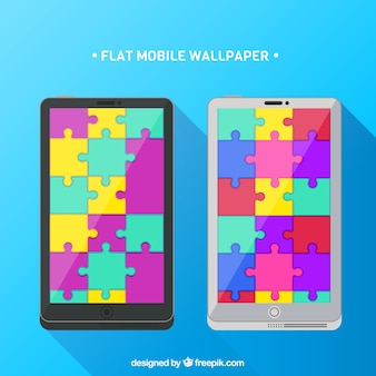 Mobile Tapeten mit bunten Puzzleteilen
