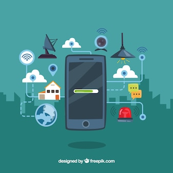 Mobiler Hintergrund mit Elementen, die mit dem Internet verbunden sind