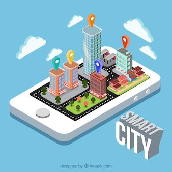 Mobiler Hintergrund mit intelligenter Stadt in isometrischem Design