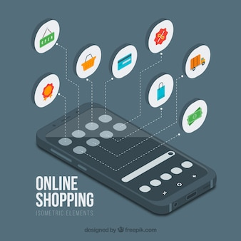 Mobiler Hintergrund und Online-Shopping im isometrischen Stil