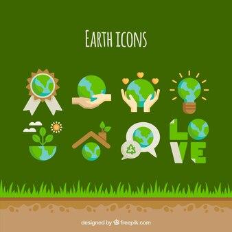 Moder Erde Handschuhe Vektor-Set