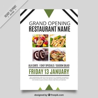 Moderne Eröffnung Restaurant Broschüre mit Linien und Dreiecke