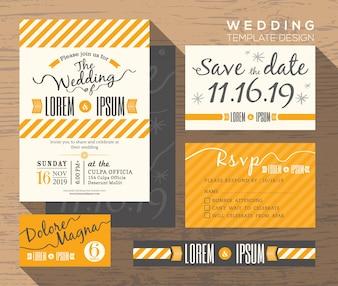 Moderne gelbe Streifen Thema Hochzeit Einladung Set Vorlage Platzkarte Antwortkarte speichert die Datumskarte