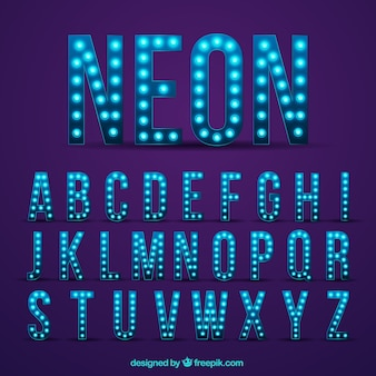 Moderne Neonalphabet