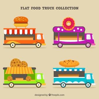 Moderne Sammlung von flachen Lebensmittel LKW