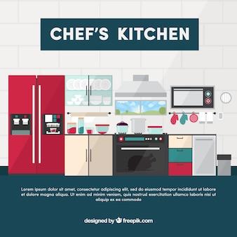 Moderner Küchenboden in flachem Design