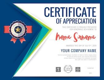 Modernes Zertifikat blaues Dreieck Form Hintergrund Rahmen Design Vorlage