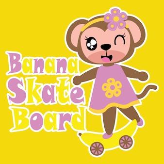 Monkey Mädchen spielt Skateboard Vektor Cartoon Hintergrund