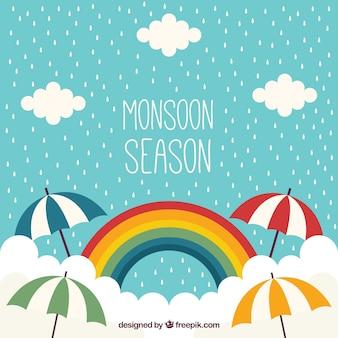 Monsun Hintergrund mit Regenbogen