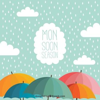 Monsun Hintergrund mit Regenschirm