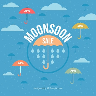 Monsun Verkauf Hintergrund mit Regenschirm in flachen Design
