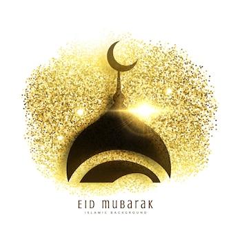 Moschee-Design auf goldenen Glitzer eid mubarak Gruß Hintergrund