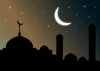 Moschee Silhouette mit Halbmond und Sternen