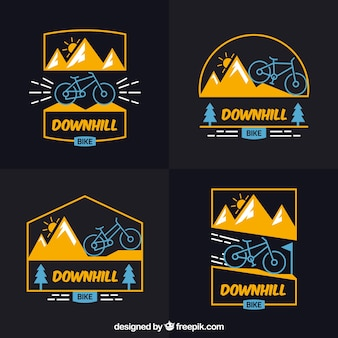 Mountainbike-Logos mit flachem Design