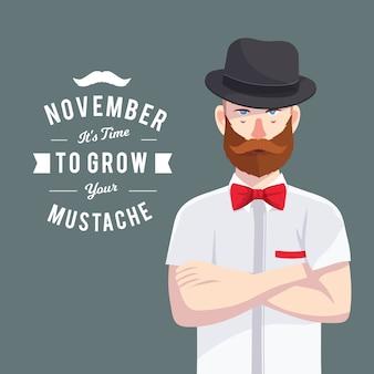 Movember Design mit Hipster