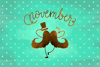 Movember Schriftzug Design mit Schnurrbart und Hut