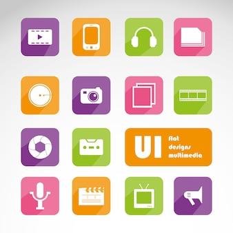 Multimedia-Flach ui-Kit-Set