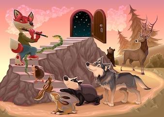 Musik zu gehen über die Angst Fox spielt die Flöte Vektor-Illustration