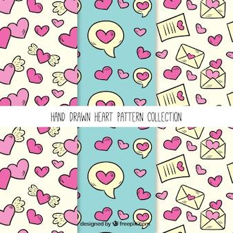 Muster von Hand gezeichneten Herzen