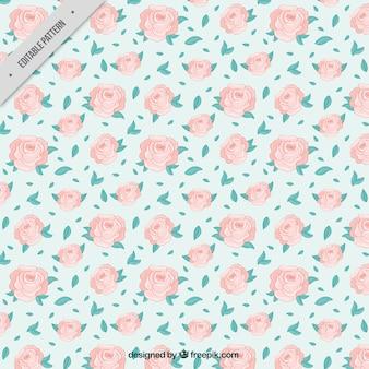 Muster von Hand gezeichneten Rosen und Blätter