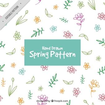 Muster von handgezeichneten farbigen Blumen