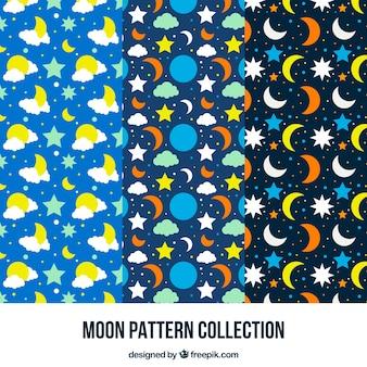 Muster von Monden und Sternen