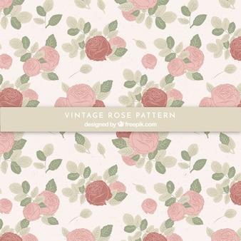 Muster von Vintage Hand gezeichneten Rosen