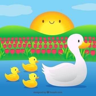 Mutter Ente mit ihren kleinen Lieder