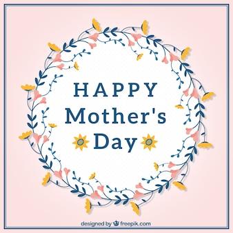 Muttertags-Grußkarte mit Blumenkranz