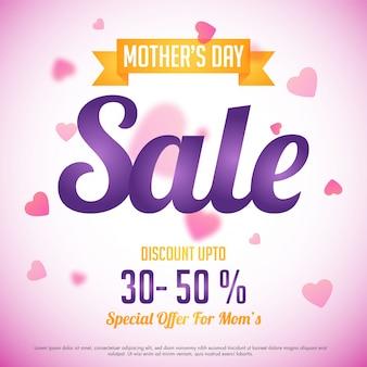 Muttertagsverkauf mit Sonderrabattangebot, rosa Herzen dekoriert Hintergrund, kann als Poster, Banner oder Flyer Design verwendet werden