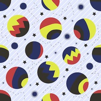 Nahtlose bunte abstarct Planet mit Silber Punkt Glitter Muster auf weißem Hintergrund