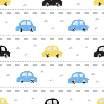 Nahtlose bunte Hand gezeichnet Auto mit Silber Dreieck Glitter Muster auf Streifen Hintergrund