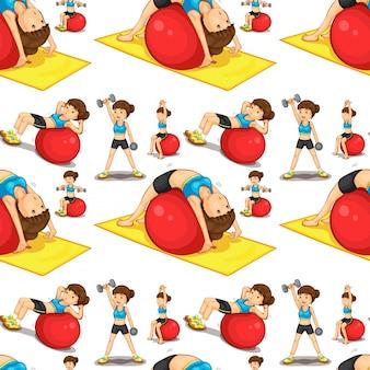 Nahtlose Frau macht Übungen