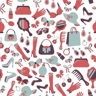 Nahtlose Frau Zubehör Hintergrund von Parfüm Schuhe Kamm und Parfüm Vektor-Illustration