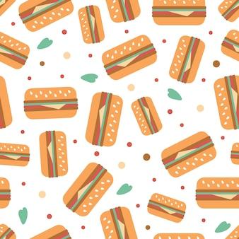 Nahtlose hamburgur mit gold dot glitter muster auf streifen hintergrund