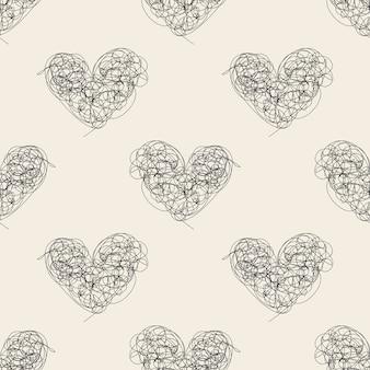 Nahtlose monochrome abstrakte Hand gezeichnet Herzen Muster Hintergrund