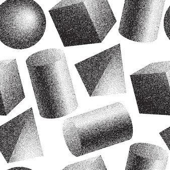 Nahtlose Muster von 3D geomertischen Formen