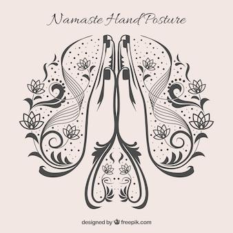 Namaste Geste mit originalem Stiel