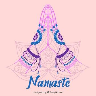 Namaste Gruß Skizze Hintergrund